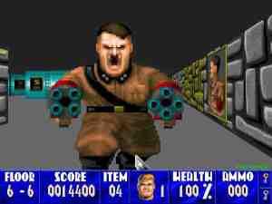 Foto do jogo Wolf3D com o jogador enfrentando o antagonista (Hitler).
