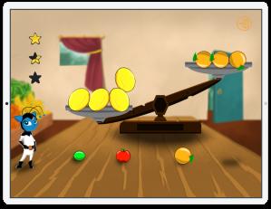 Jogo balança de frutas com Corona